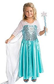 Butterfly Craze Snow Queen Costume with Snow Flake Wand Set (4 Years)