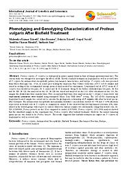 Proteus Vulgaris Characteristics – Biofield Treatment Analysis