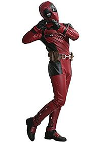 Dead Cosplay Pool Wade Costume Jumpsuit PU Outfit with Helmet Belt Boots Adult