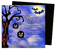 Batty Halloween Party Invitation Template