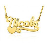 Nicole Style Birthstone Heart Name Necklace Solid 14k Gold