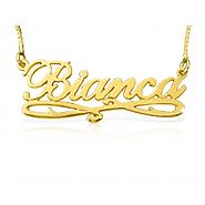 Bianca Style Accent Name Necklace in Solid 14k Gold
