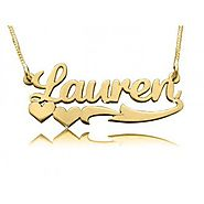 Lauren's Heart Solid 14k Gold Name Necklace