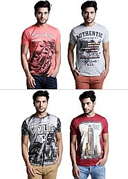 Printed T-Shirt Mania: Pack of 4 Printed T-Shirts By Henry Hudson