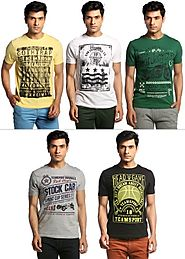 Summer Cool - Pack Of 5 Printed Round Neck T-Shirts By Henry Hudson