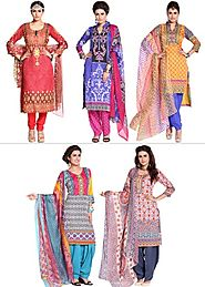 Zoha - Super Combo of 5 Printed Ready To Stitch Suits