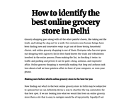 How to identify the best online grocery store in Delhi