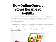 How Online Grocery Stores Became So Popular
