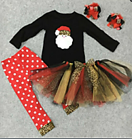 BLACK SANTA SHIRT WITH POLKA DOT PANT AND TUTU !X1044-Q