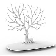 Jewelry Rack, FINER Creative Sika Deer Tree Jewelry Rack Display Stand Holder Organizer for Earrings Necklace Ring - ...