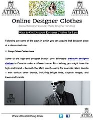 Discount Designer Clothes Canada