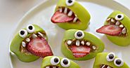 DIY Halloween Monster Apple Bites Recipe from Fork and... (TrueBlueMeAndYou: DIYs for Creative People)