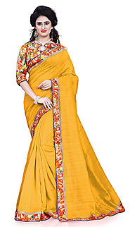 yellow bhagalpuri saree
