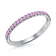 Pink Sapphire Gemstone Comfort Fit Half Eternity Band in 14K White Gold