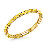 Yellow Sapphire Gemstone Comfort Fit Eternity Band in 14K Yellow Gold