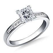 3/4 ct. tw. Princess Cut Diamond Channel Set Engagement Ring in 14K White Gold