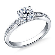 3/4 ct. tw. Round Diamond Channel Set Cathedral Engagement Ring in 14K White Gold