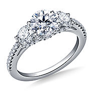 2.00 ct. tw. Round Diamond Three Stone Engagement Ring in 14K White Gold