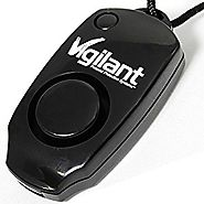 Vigilant 130 dB Wearable Personal Protection Alarm with Backup Whistle and Neck Lanyard (PPS-23BL Black)