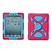 Pepkoo Ipad Mini Silicone Plastic Protective Dual Layer Shock Absorbing Kid-proof Case Built in Stand Designed for th...