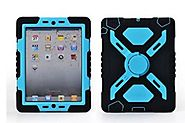 Pepkoo Ipad Mini 1& 2 Case Plastic Kid Proof Extreme Duty Dual Protective Back Cover with Kickstand and Sticker for I...