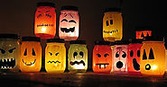 Halloween Luminaries: colorful painted jars