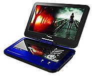 Impecca DVP1016 10.1 Inch Portable DVD Player, 6 Hour Rechargeable Battery, Swivel Screen, Blue