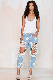 Star Pattern Ripped Boyfriend Jeans
