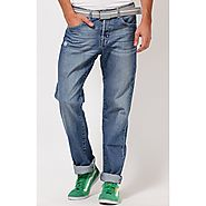 Web Jeans Washed Light Blue Regular Fit Jeans for Men