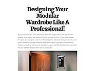 Designing Your Modular Wardrobe Like A Professional!