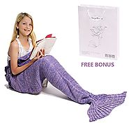 Mermaid Tail Blanket, Amyhomie Mermaid Blanket Adult Mermaid Tail Blanket, Crotchet Kids Mermaid Tail Blanket for Gir...