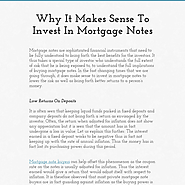 Why It Makes Sense To Invest In Mortgage Notes