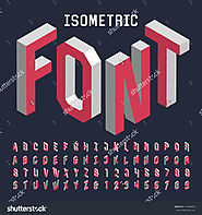 3d isometric alphabet font. Letters, numbers and symbols. Three-Dimensional stock vector typography for headlines, po...