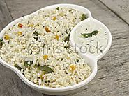 Coconut rice with coconut chutney