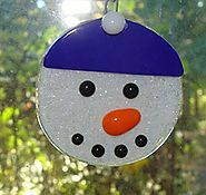 Fused Glass Handmade Snowman Face Tree Ornament for Christmas Lovers