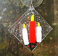 Candles Handmade Fused Glass Christmas Ornament Gift Idea