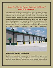 Garage Door Mart Inc. Provides The Durable And Branded Range Of Overhead Door