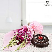 Make a Combo of Flowers and Cake
