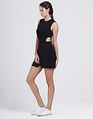 Women's Black Thermal Dress With Cut Outs Online