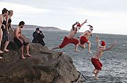In Dublin Ireland Participants Jump Into The Forty-Foot Seawater Pool in Sandycove on Christmas Day For A Frosty Swim