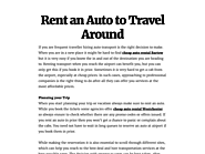 Rent an Auto to Travel Around
