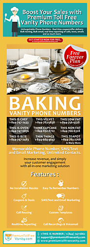 Find Premium Toll Free Vanity Phone Numbers for Baking Business - Infographic