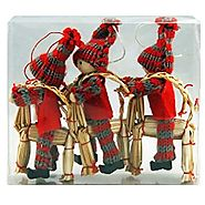 Nordic Straw Goat and Child Christmas Tree Decorations