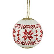 Nordic Alpine Red and White Snowflake Embroidered Christmas Tree Ornament