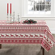 Red and White Nordic Scandinavian Style Christmas Tablecloth