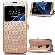 Samsung Bling Glitter Window View Flip Wallet Card Case