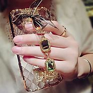 Buy iPhone 3D Bling Rhinestone Chain Girls Lace Bow Back Case