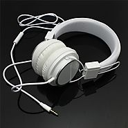High Quality White Color Adjustable Headband Headphone 3.5mm With Mic