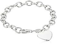Sterling Silver and Gold-Plated Bracelet with Heart Charm, 7.5""