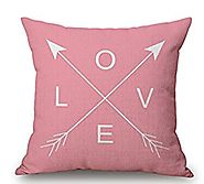 Pink Arrow Love Magic squares Cotton Linen Throw Pillow Case Cushion Cover Home Sofa Decorative 18 X 18 Inch (6)